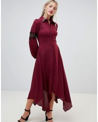 Hope and Ivy - Hope & Ivy Long Sleeve Dip Hem Shirt Dress With Lace Insert - Lyst