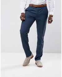 Mango - Man Slim Fit Check Suit Trousers In Navy - Lyst