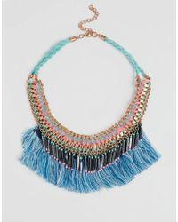 New Look - Tassel Fringe Necklace - Multi Col - Lyst