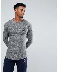 Gym King - Muscle Long Sleeve T-shirt In Grey Rib - Lyst