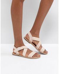 d8d21ca8d2 Lyst - ASOS Asos Foz Leather Gladiator Flat Sandals in Brown