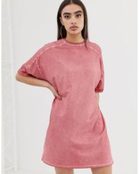 ASOS - T-shirt Dress With Rolled Sleeves And Wash - Lyst