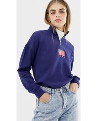 Daisy Street - Relaxed Sweatshirt With Half Zip And Flag Embroidery - Lyst