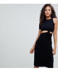 ASOS - Asos Design Tall Knot Detail Midi Dress With Cut Out Side In Rib - Lyst