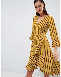 Y.A.S - Striped Wrap Dress With Asymetric Ruffle Hem - Lyst
