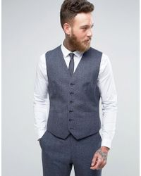 Reiss - Slim Vest In Salt N Pepper - Lyst