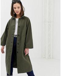 Monki - Oversized Lightweight Coat In Khaki - Lyst