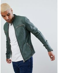 Goosecraft - Glasgow Leather Biker Jacket In Dark Green - Lyst