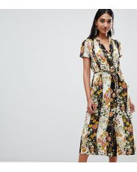 Mango - Button Down Midi Dress In Dark Florals - Lyst