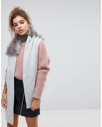 Urbancode - Wrap Around Knitted Scarf With Faux Faur Collar - Lyst