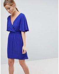 ASOS - Flutter Sleeve Cross Over Mini Dress - Lyst