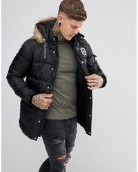 Hype Padded Parka In Black With Faux Fur Hood in Black for Men | Lyst