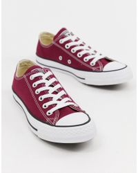 Converse - Chuck Taylor All Star Ox Burgundy Trainers - Lyst