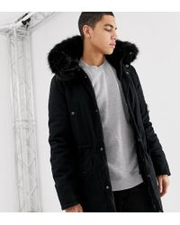 Sixth June - Parka Coat In Black With Black Faux Fur Hood Exclusive To Asos - Lyst