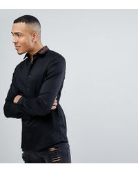 ASOS - Tall Slim Fit Shirt In White With Embroidered Collar - Lyst