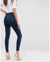 ASOS - Design 'sculpt Me' High Waisted Premium Jeans In Dark Wash Blue - Lyst
