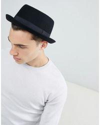 ASOS - Design Pork Pie Hat In Black Felt - Lyst
