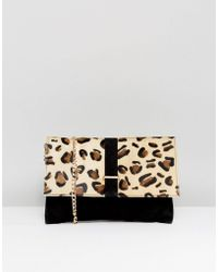 Urbancode - Leopard Print Pony Hair Clutch Bag With Detachable Strap - Lyst