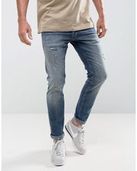 Jack & Jones - Intelligence Jeans In Slim Fit With Open Rips - Lyst