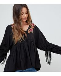 ASOS - Embroidered Smock Top With Fringe Sleeve - Lyst