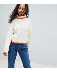 ASOS - Chunky Crop Jumper With High Neck And Tipping - Lyst