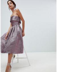 Forever Unique - Metallic Strapless Prom Dress - Lyst