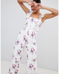 Fashion Union - Tea Jumpsuit With Button Front In Vintage Floral - Lyst