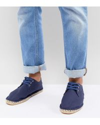 ASOS - Wide Fit Lace Up Espadrilles In Navy Canvas - Lyst