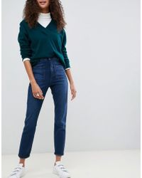 d3da47a294ee ASOS - Farleigh High Waisted Slim Mom Jeans In Dark Stonewash Blue With  Patch Pockets -