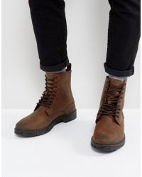Stradivarius - Lace Up Boots In Brown - Lyst