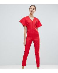 New Look Flutter Sleeve Jumpsuit In Red