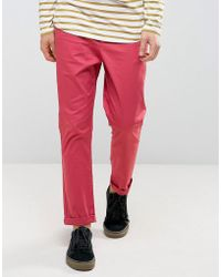 ASOS - Tapered Chinos In Red - Lyst