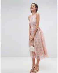 ASOS DESIGN - Asos Lace Pinny Scallop Edge Midi Prom Dress - Lyst