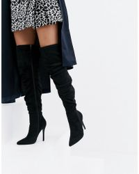 629cf8bde87b PrettyLittleThing - Stiletto Heeled Slouchy Over The Knee Boots In Black -  Lyst