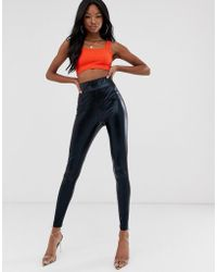 858920d2797c2 Club L Pu Front Lace Up Legging In Wet Look in Black - Lyst