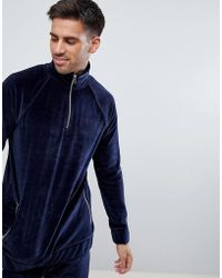 River Island - Velour Funnel Neck Top In Navy - Lyst
