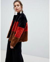 B.Young - Stripe Faux Fur Coat - Lyst