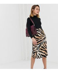 River Island - Bias Cut Satin Slip Midi Skirt In Tiger Print - Lyst