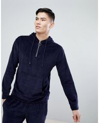 Mango - Man Velour Hoodie With Half Zip In Navy - Lyst