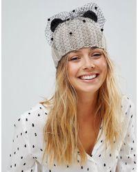 Helene Berman - Knit Cat Ear Hat With Half Veil - Lyst