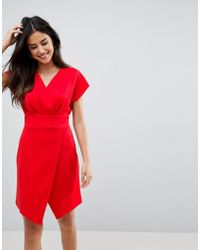 ASOS - Asos Mini Cross Front Origami Dress - Lyst