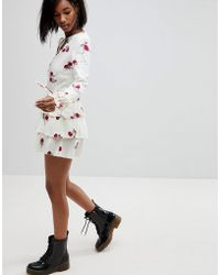 Motel - Plunge Front Tea Dress In Cloudy Floral - Lyst