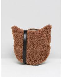 Monki Faux Fur Cross Body Cat Bag In Brown
