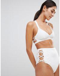 ASOS DESIGN - Premium Lace Applique Strappy Crop Bikini Top - Lyst