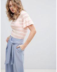 Minimum - Burn Out Stripe T-shirt - Lyst