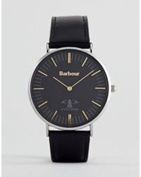 Barbour - Bb055bkbk Hartley Leather Watch In Black - Lyst