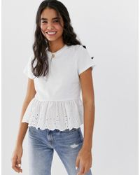 0f9fcc2207291 Lyst - ASOS Crop Top With Stripe Frill Ruffle in Black