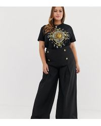 Missguided - Wide Leg Pant With Front Pleat And Button Detail - Lyst