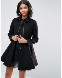 ASOS - Swing Coat With Full Skirt And Zip Front - Lyst