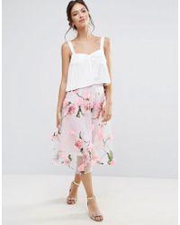 Amy Lynn - Amy Lynn A Line Midi Skirt With Floral Applique - Lyst